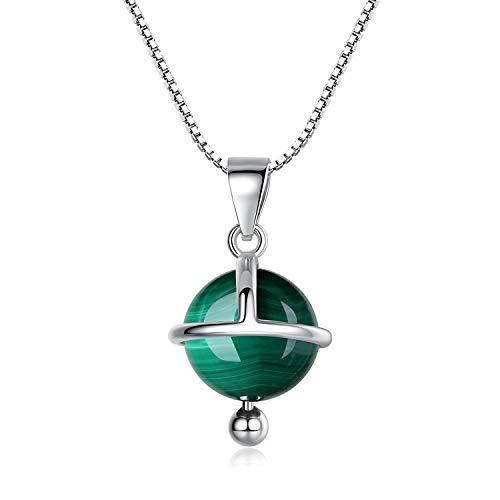 COAI Collar para Mujer en Plata 925 con Colgante Esfera Satélite en Malaquita