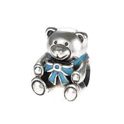 EvesCity - Abalorio de plata de ley 925, diseño de oso de peluche azul bebé