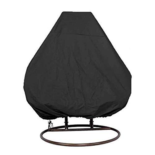 Copertura impermeabile per sedia da giardino, in tessuto Oxford, per sedia a forma di uovo, per esterni, in vimini, colore nero, 232 x 203 cm