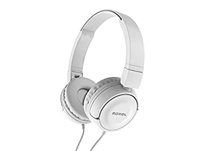 Roxel RX110 Powerful Bass Lightweight Wired Foldable Headphones with Mic, Ergonomic On Ear Headphone Compatible with Android and IOS Devices, Answer Incoming Calls (White) by Roxel