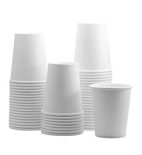 100 Pack 8 oz White Paper Hot Cups Coffee Cups