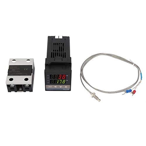 LANTRO JS - 0 0~1300 ℃ Alarma REX-C100 Controlador de temperatura PID LED digital Kit de termostato Controlador de temperatura LED Regulador de calefacción de refrigeración Termostato centígrado AC1
