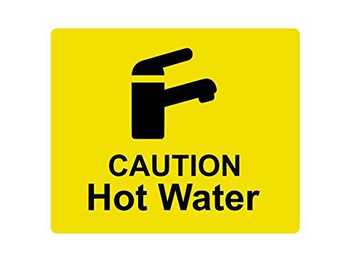Adhesivo para Grifo de Agua Caliente con Texto en inglés Caution Hot Water Tap Sink, Alta Visibilidad, Grabado en Amarillo, Negro con símbolo de Icono Universal y Texto (tamaño 12 cm x 10 cm)