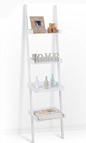 Spetebo Leiterregal mit 4 Böden in weiß - 168 x 37 cm - Ideal für Wohnzimmer oder als Badezimmerregal