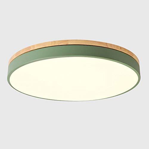 Deckenleuchte Grün Metall und Holz,LED Dimmbar mit Ferbedienung 18W Deckenlampe Modern Rund Design Deckenbeleuchtung Schlafzimmer Galerie Bad Gang Flur Toilette Balkon,φ30CM