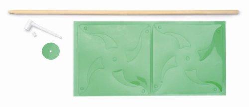 GLOREX windmolenset, hout, groen, 49,5 x 17,6 x 1 cm