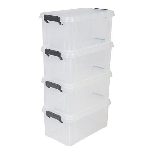 Iris Ohyama, 4er-Set stapelbare Aufbewahrungsboxen mit Klickverschluss - Multi Box MBX-6 - plastik, transparent, 4 x 6 L, L21.4 x B36.5 x H16.5 cm