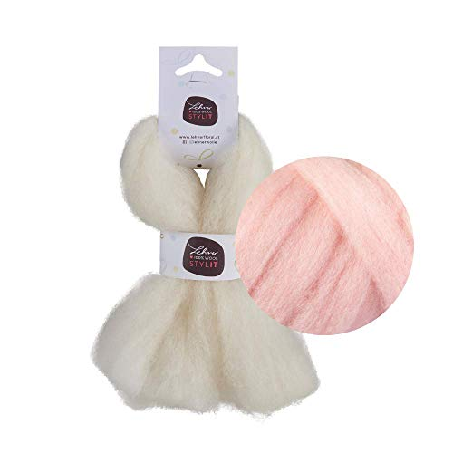 Lehner Stylit - Lana de fieltro, 12 colores, 100% lana de oveja, peinada, resistente a la intemperie, no destiñe, fieltro con aguja en el peine para fieltro húmedo y fieltro seco