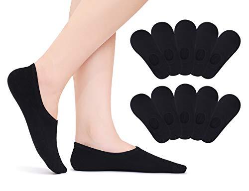 TUUHAW Chaussettes Basses Invisibles pour Homme et Femme 10 Paires Socquettes Courtes Respirantes en Coton Antidérapant Noir 47-50