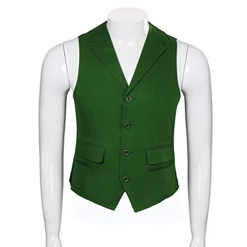 Adult Mens Knight Clown Costume Shirt Vest Tie Outfit Suit Set Fancy Dress Up Halloween Cosplay Props (Large, Shirt Vest Tie Set)