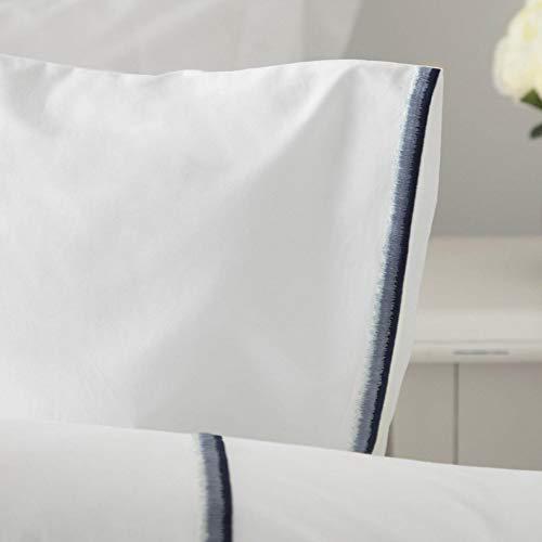 Belledorm 100% Cotton Couette Housse Set en Blanc avec Trois Tons Détail Broderie - Blanc/Bleu, Superking