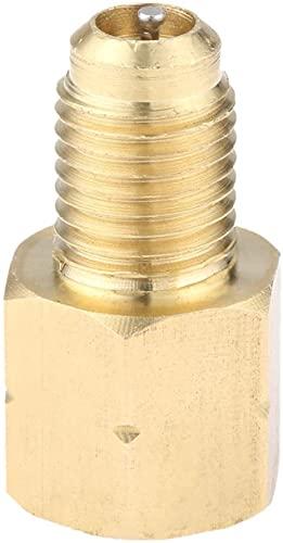 NICERE Repuesto para aspiradora Be Quiet Mall Brass R1234YF Adaptador de bomba de vacío 1/2 Acme-LH X 1/4SAE macho C/W Válvulas extraíbles Core Aire Acondicionado Adaptador Adaptador