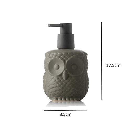 ASDQW Seifenspender,Shampoo Flasche Grau Eule Tierform Behälter Mit Schwarzer Handpumpendüse Leicht Zu Füllen Auf Badezimmer Hotelküche Auftragen