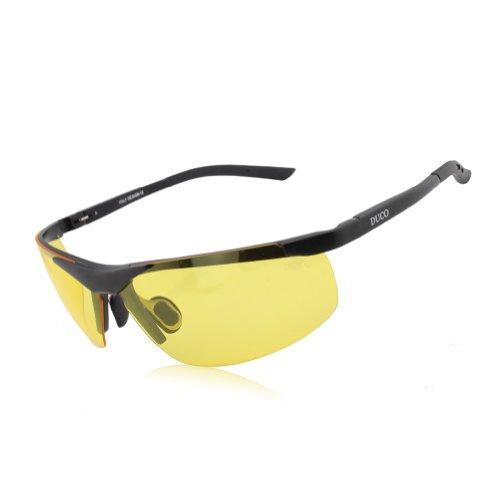 DUCO Nachtsichtgläser bei blendenden Scheinwerfern Autofahren Nachtfahrbrille polarisierte Sportbrillen mit gelben Gläsern 8125 (Schwarz)