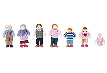 KidKraft 5  Wooden Poseable Doll Family of 7 - Caucasian Gift for Ages 3+