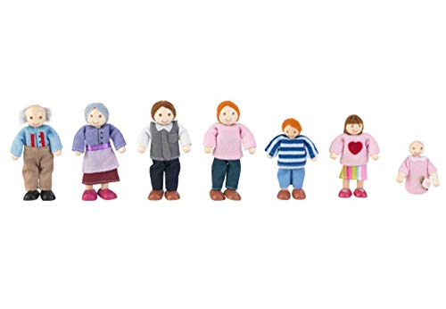KidKraft- Familia de 7 muñecos de madera, figuras de aprox. 12 cm de alto (accesorios para casas de muñecas) (65202) , color/modelo surtido
