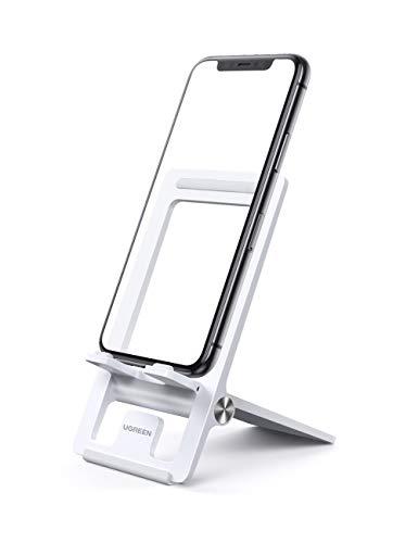 UGREEN Ständer Handy Ständer Tisch Handy Halter Smartphone Halterung Verstellbarer Handyständer kompatibel mit iPhone 11 Pro X 8 Plus, Samsung Galaxy S20 S10 A50, Huawei P30 Pro P20 Pro usw. (Weiß)