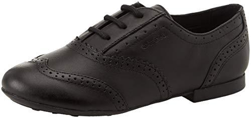 Geox Jr Plie' E, Zapatos de Cordones Oxford para Niñas, Negro (Black C9999), 34 EU