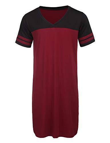 Ekouaer Nightshirts for Men Cotton Short Sleeve Sleepwear Big&Tall V Neck Nightwear Sleepshirts Kaftan Pajamas (Wine Red, Large)