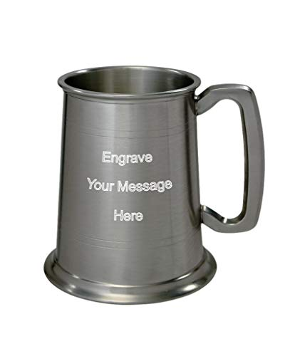 Wentworth Pewter - 1 Pint Pewter Antique Finish Tankard Personalised Engraved Free - Boxed Wedding, Birthday, Retirement, Sports trophy, Dad Gift