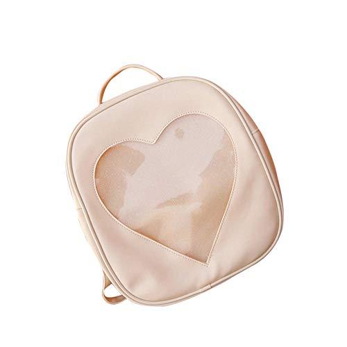QPYYBR Bolso de cuero Pu de Color caramelo Diy transparente amor en forma de corazón mochila Kawaii Harajuku mochilas escolares para adolescentes Dropship