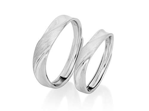 Nature Rebel Juego de anillos para parejas, para él y para ella, plata de ley 925, tamaño ajustable, cepillado, mate