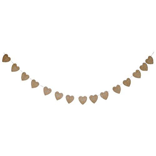 LUOEM 4M Guirlande de fanions en Forme de cœur en Lin pour Mariage, Saint-Valentin, fête à l'intérieur