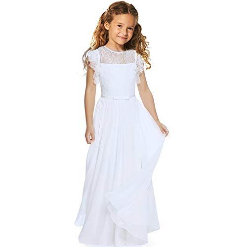 TYHTYM Robe de demoiselle d'honneur en dentelle pour concours de beauté, mariage, bal de fin d'année, fête de fille, manches volantes - Blanc - 11 ans