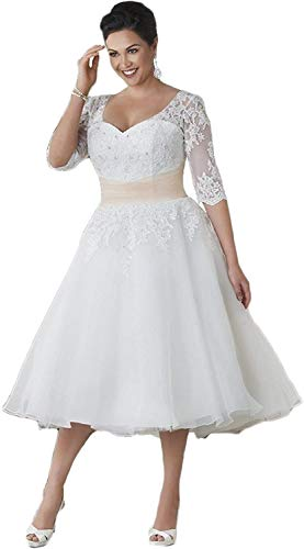 Meganbridal Women's Half Sleeves Lace A Line Wedding Dresses Short Tea Length Plus Size for Bride Bridal Ball Gown White/Red