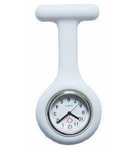 Boolavard TM Orologio da infermiere in silicone con spilla - orologio tascabile BIANCO