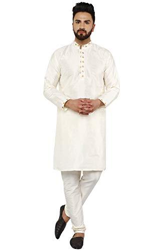 SKAVIJ Herren Kurta Pajama indisch Ethnischen Verschleiß Set (Nicht-Gerade Weiss, Medium)