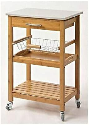 MHWK8 Kitchen Cart with Stainless Steel Brown Home Kitchen