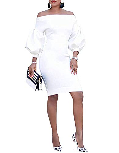 Ophestin Women Puff 3/4 Sleeve Off The Shoulder Bodycon Knee Length Party Pencil Midi Dress White M
