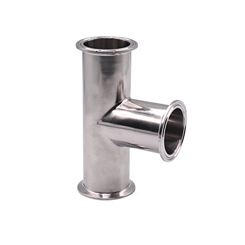 DERNORD Clamp Tee 3 Way Stainless Steel 304 Sanitary Fitting Fits 2 Tri-clamp, 51mm Pipe OD