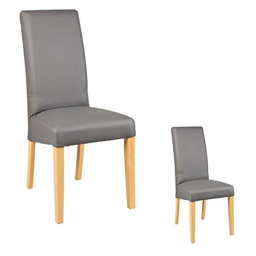 Tousmesmeubles Duo de chaises Similicuir Gris - Kuban - L 47 x l 52 x H 97 - Neuf