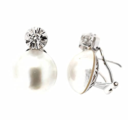 Pendientes perla diamantes oro blanco 18K [9-3204-P]