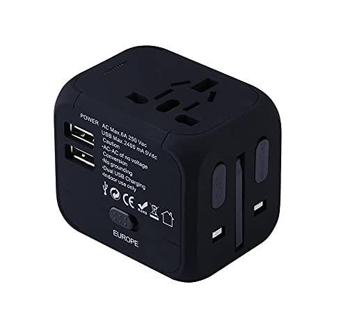 Adaptador de corriente universal mundial Adaptador de enchufe eléctrico del enchufe del enchufe del enchufe Viajes universal universal convertidor UE REINO UNIDO EE.UU. AU con 2 USB Cargando 2. 4A LED