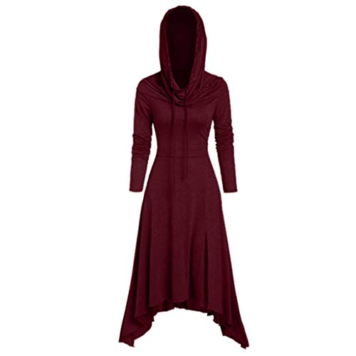 AmyGline Gothic Kleidung Damen Hoodie Kleid Frack Smoking Kapuzenpullover Lang Sweatshirt Kleid Vintage Retro Mittelalter Kleid