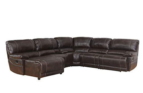 Abbyson Living 6-Piece Faux Leather Sectional Reclining Sofa Couch with Center Console Storage, Brown