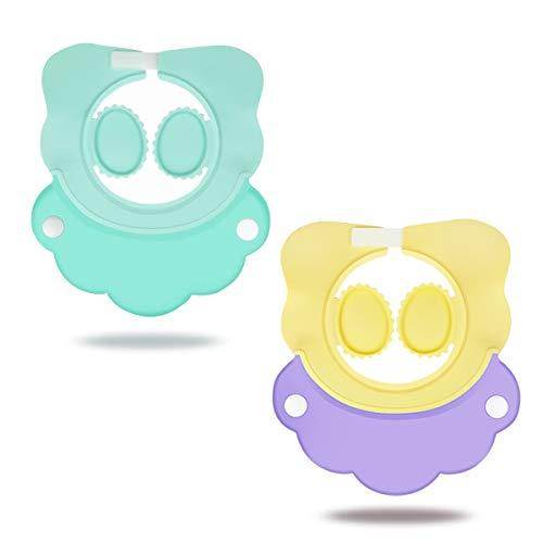 SONARIN Gorro de Ducha para Bebé,2pcs Gorro de Champú para Bebés,Con Orejeras, Protege Los ojos y las orejas para Niños,Champú Ajustable para Bebé, Gorro de Baño para Bebés(Azul & Morado)