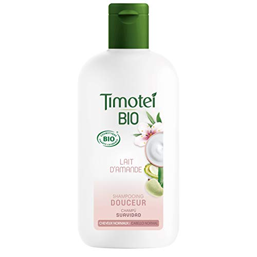 TIMOTEI BIO Champú Suavidad para todo tipo de cabello con leche de almendras; certificado COSMOS ORGANIC, 98% ingredientes de origen natural, 250ml