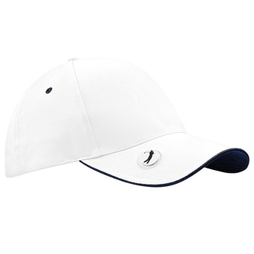 Beechfield Pro-style ball mark golf cap White/ French Navy