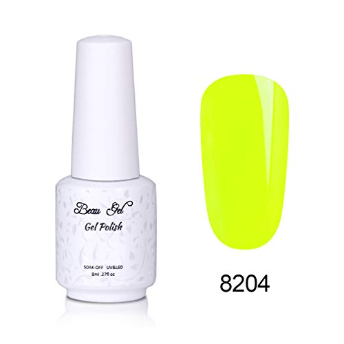 Esmalte de Uñas Semipermanentes Kit de Uñas Color Fluorescente Esmalte de Gel Mnicura Pedicura Nail Art UV LED Soak Off 1pcs 8ml de Beau Gel - 8204
