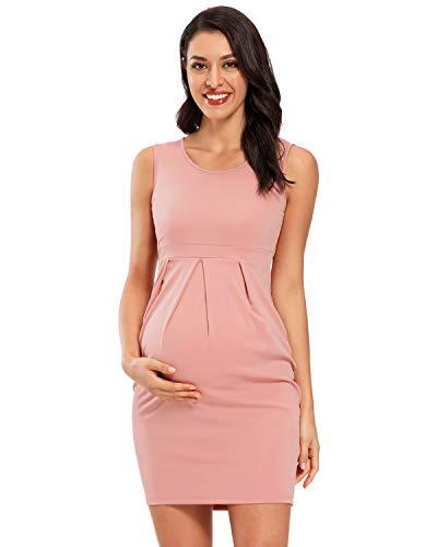 Love2Mi Damen Ärmellos Kleider für Schwangere, Elegant Umstandskleid Freizeit Abendkleider Umstandsmode Sommerkleid