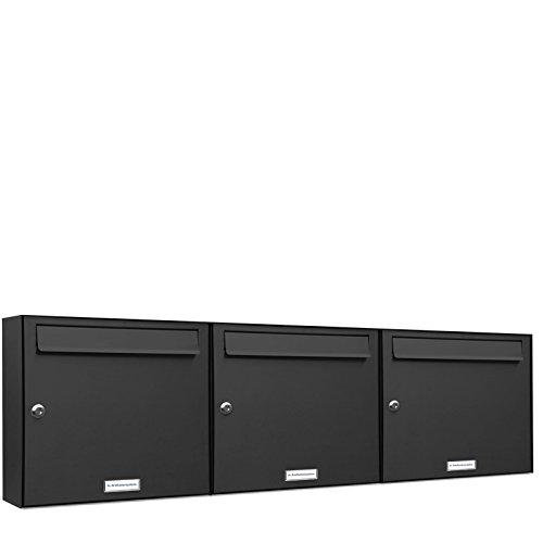 AL Briefkastensysteme 3er Briefkastenanlage Anthrazit Grau RAL 7016, Premium Briefkasten DIN A4, 3 Fach Postkasten modern Aufputz