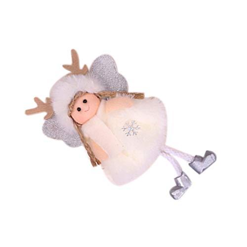 VORCOOL Cappello Bianco Angelo Appeso Bambola di Peluche Ciondolo Natalizio Decorazione Domestica Forniture per Feste (Ciondolo Angelo Cappello Corno Bianco)