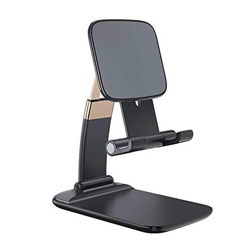 Soporte para teléfono celular Soporte para tableta, Soporte de escritorio portátil plegable Soporte para teléfono de altura y ángulo ajustable para escritorio Soporte de metal de aluminio resistente