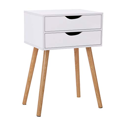 Nightstand with Drawers, US Stock Wood White Night Stand End Table Side Table with 2 Storage Drawers for Bedroom/Living Room/Study Room, Easy Assembly (White)
