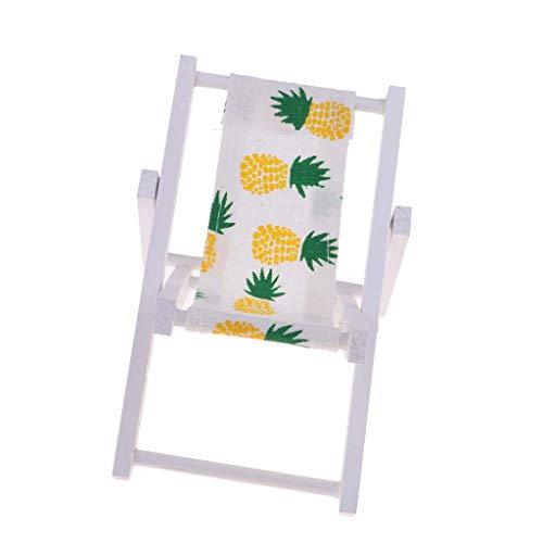 Chenbz Mini pieghevole in legno Sedia a sdraio Dolls House Lounge Chair 1: 6 Scale (giallo ananas)