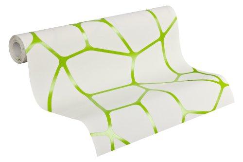 Lars Contzen Vliestapete Micro Tapete Designertapete grafisch modern 10,05 m x 0,53 m grün weiß Made in Germany 255228 2552-28